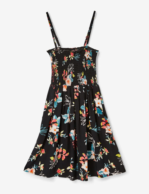 robe fleurie smockée noir