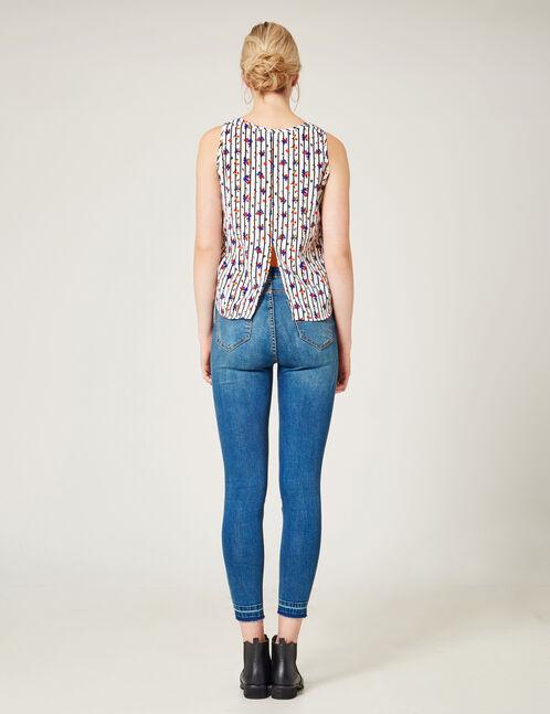 Medium blue unpicked stitch-effect jeans