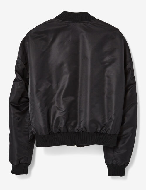 Black bomber jacket with buckle detail