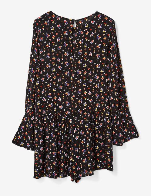 Black floral playsuit
