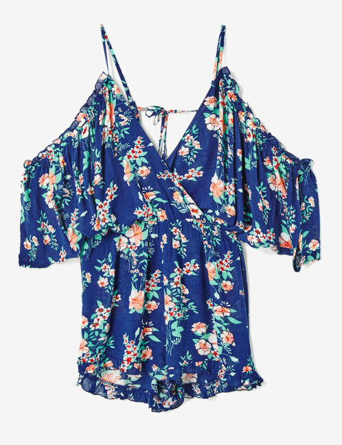 Navy blue floral playsuit