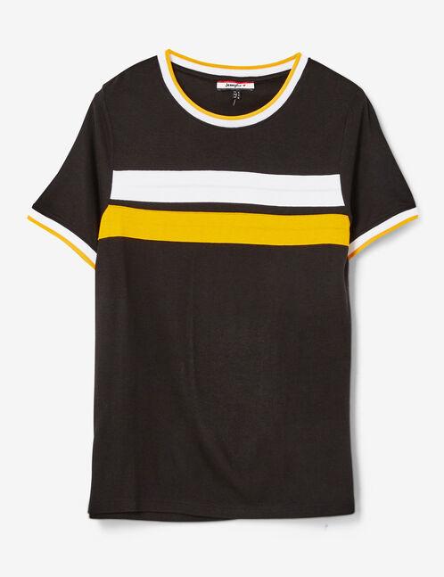 tee-shirt avec bandes noir