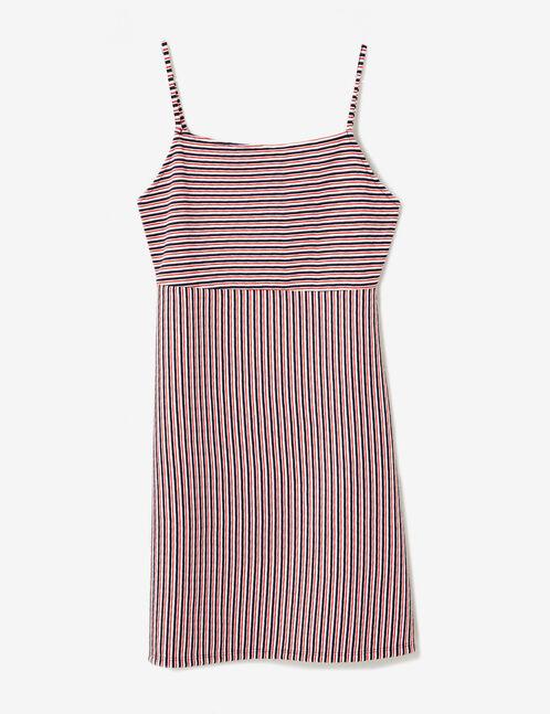 mini-robe texturée écrue, rouge et bleu marine