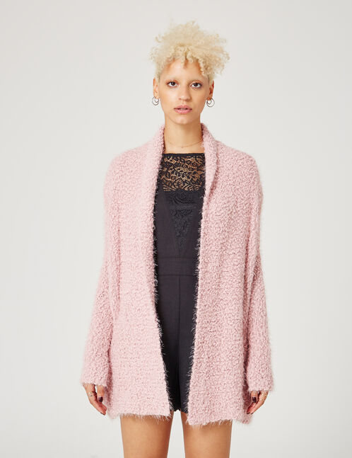 Light pink popcorn knit open cardigan