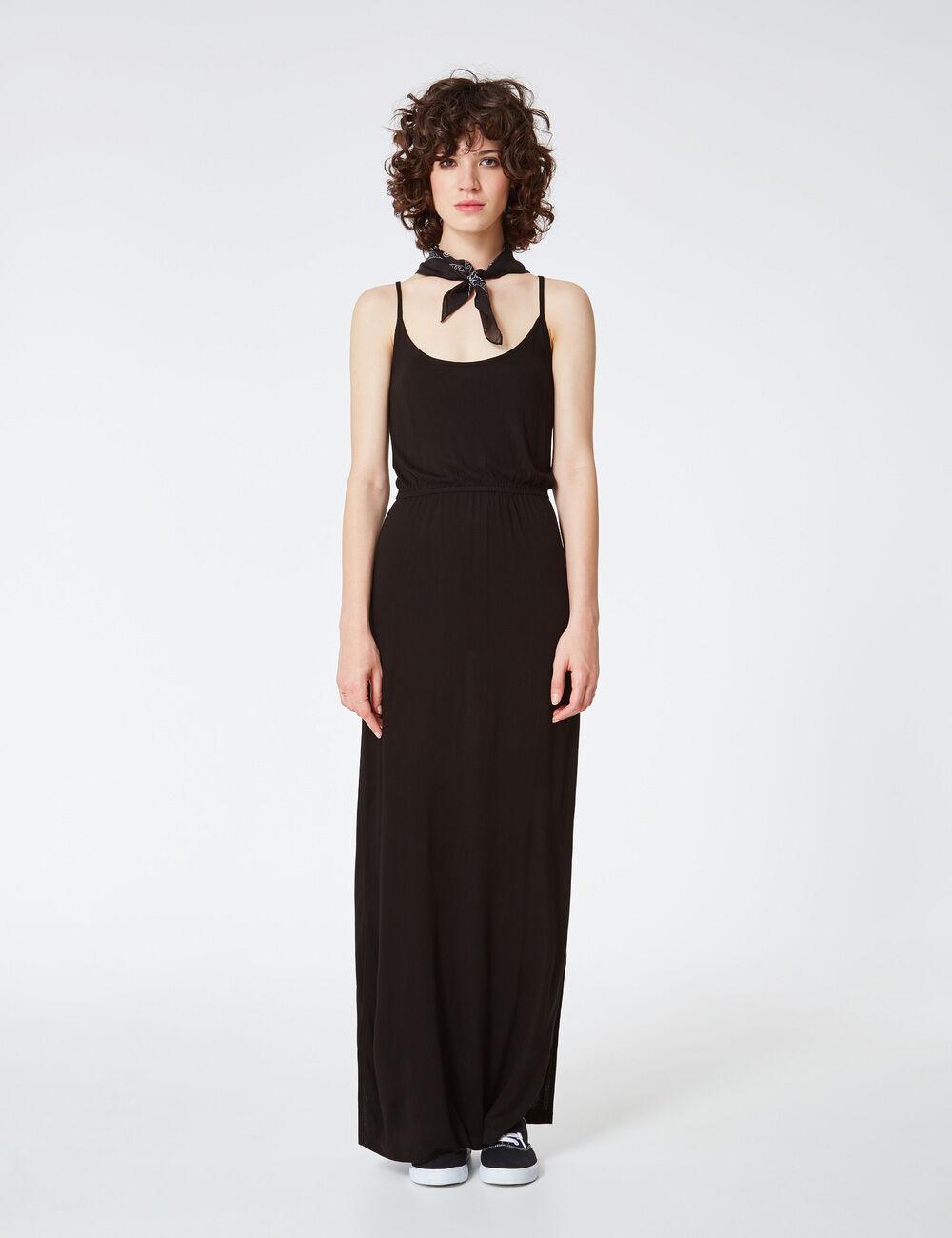 robe longue fendue noire femme jennyfer. Black Bedroom Furniture Sets. Home Design Ideas
