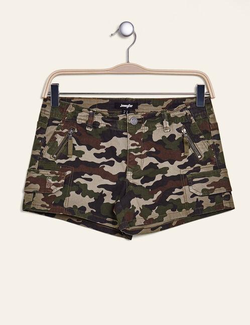 short style cargo camouflage kaki