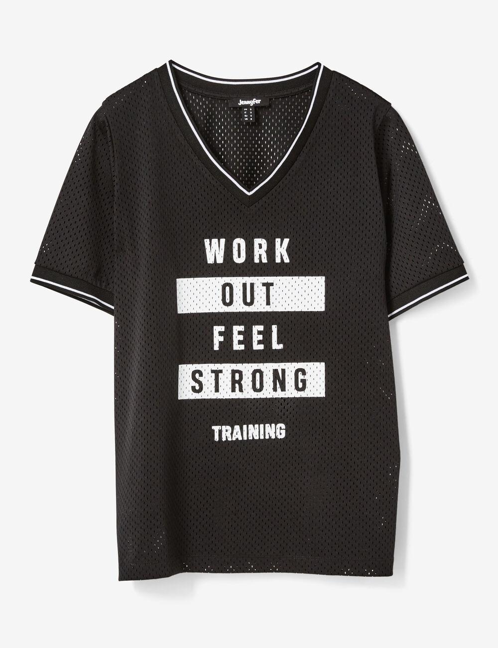 tee shirt fitness message noir femme jennyfer. Black Bedroom Furniture Sets. Home Design Ideas