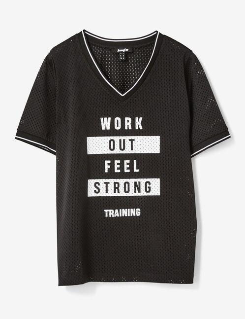 tee-shirt fitness à message  noir