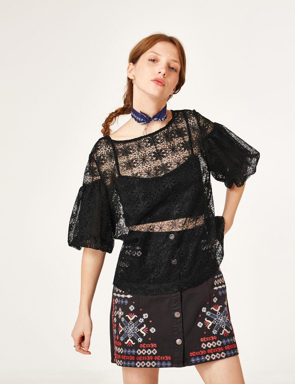 blouse dentelle ajour e noire femme jennyfer. Black Bedroom Furniture Sets. Home Design Ideas