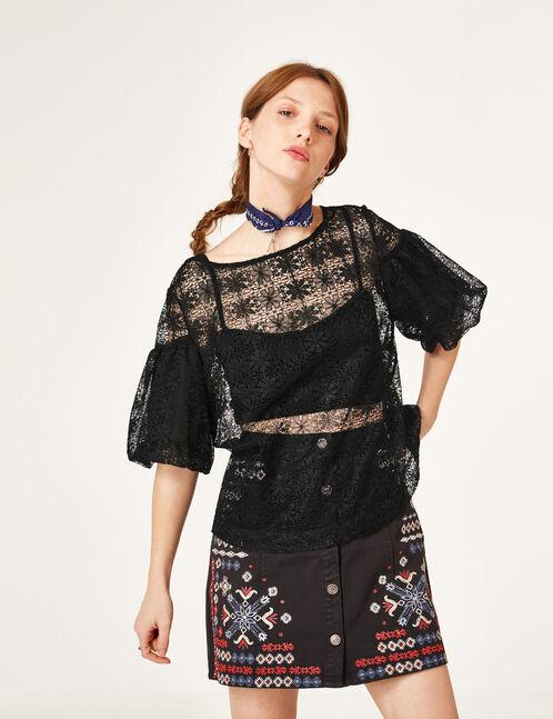 Black openwork lace blouse