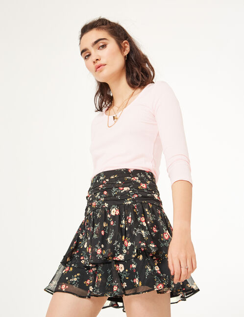 Black floral skirt with frill detail