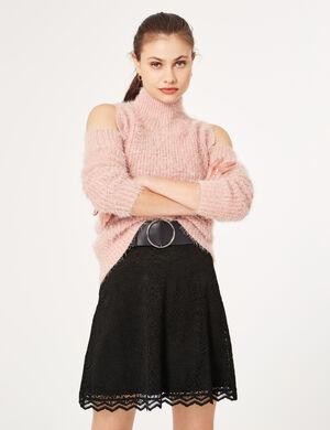 pull épaules ajourées rose clair