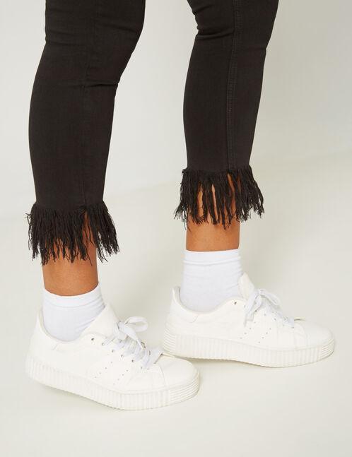 pantalon skinny avec franges noir