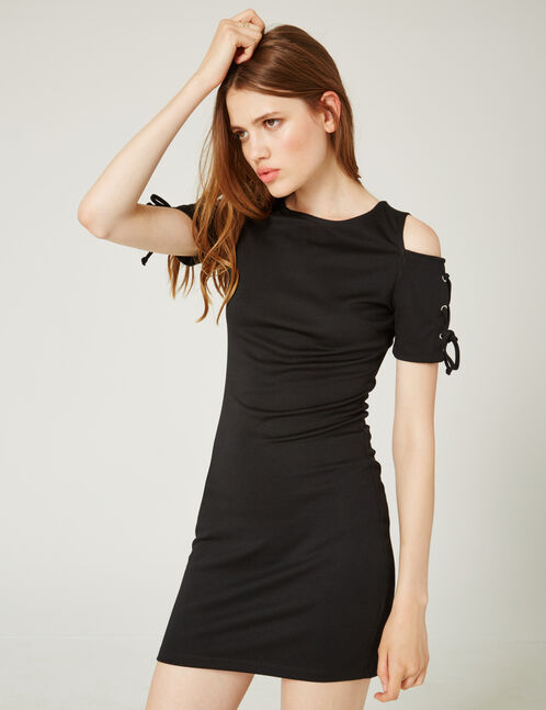 Black tube dress with lacing detail