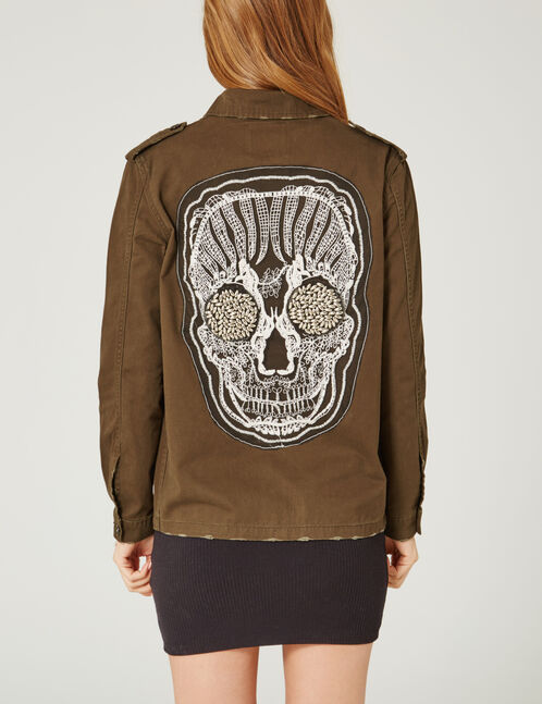 Khaki jacket with skull detail