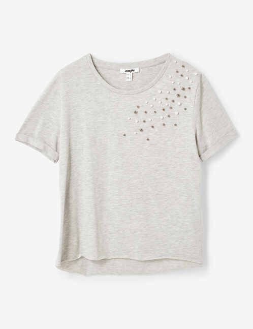 Grey marl T-shirt with beading detail