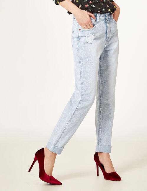 Bleached denim distressed mom jeans