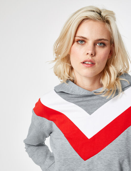 Grey marl, red and white tricolour hoodie