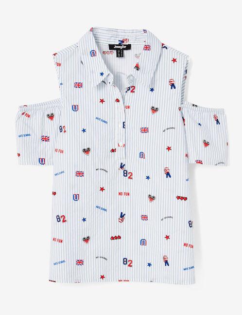 blouse mix d'imprimés rayée blanche et bleue