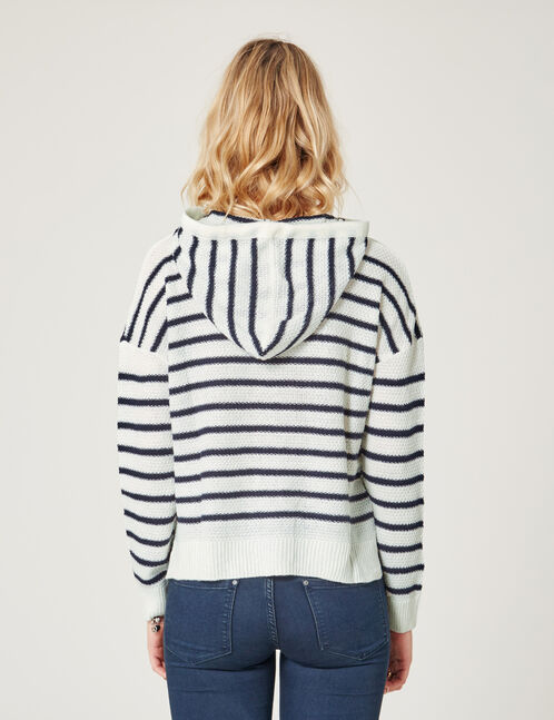 Cream and navy blue striped hoodie