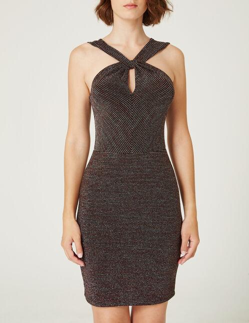 robe rayé en lurex noire, rose et argentée