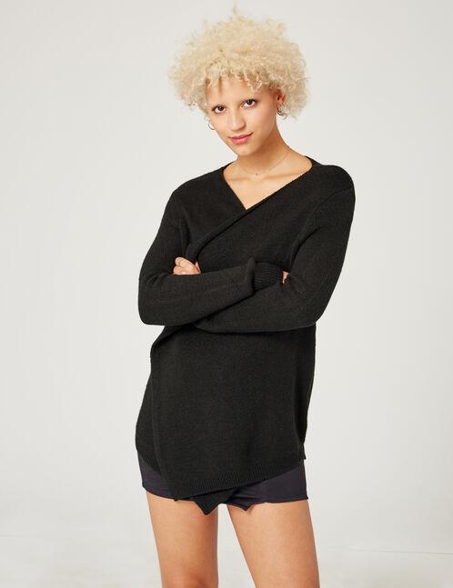 Black cashmere-feel cardigan