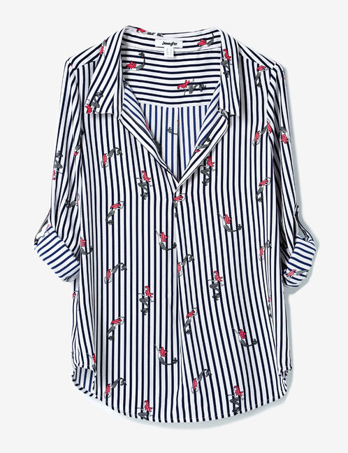 Cream and navy blue striped chiffon blouse