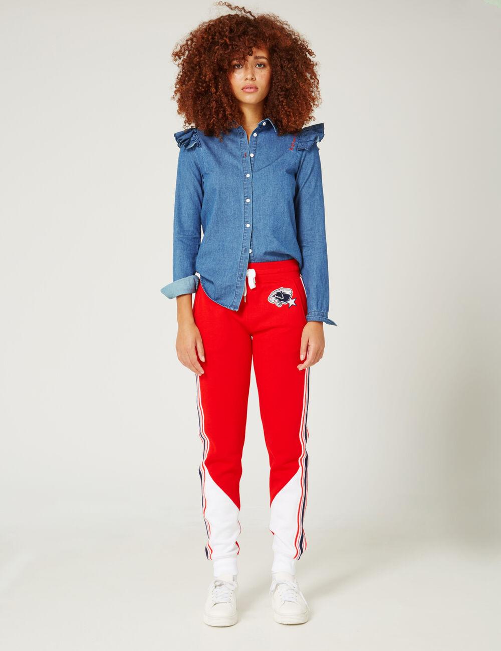 jogging bicolore rouge et blanc femme jennyfer. Black Bedroom Furniture Sets. Home Design Ideas