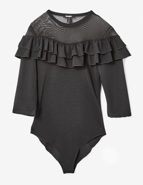 Black bodysuit with frill and mesh details