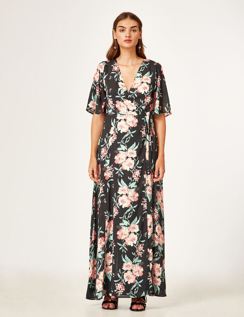Long black floral dress