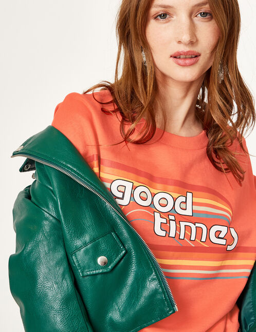Coral sweatshirt with text design detail