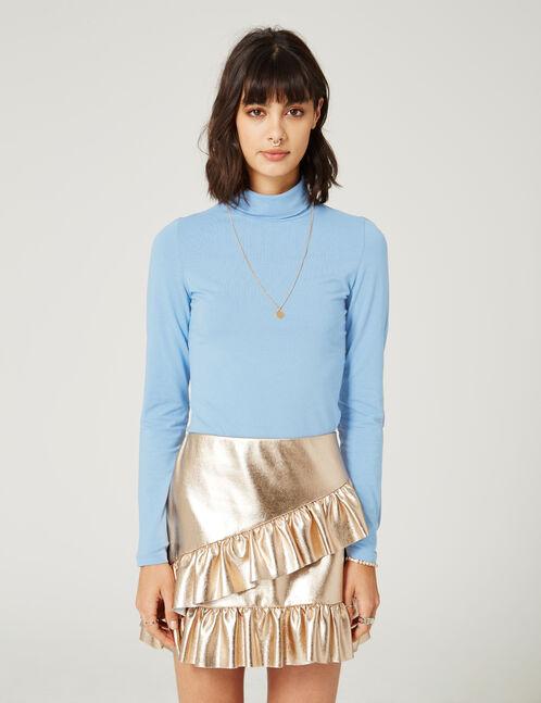 tee-shirt  basic col roulé bleu clair