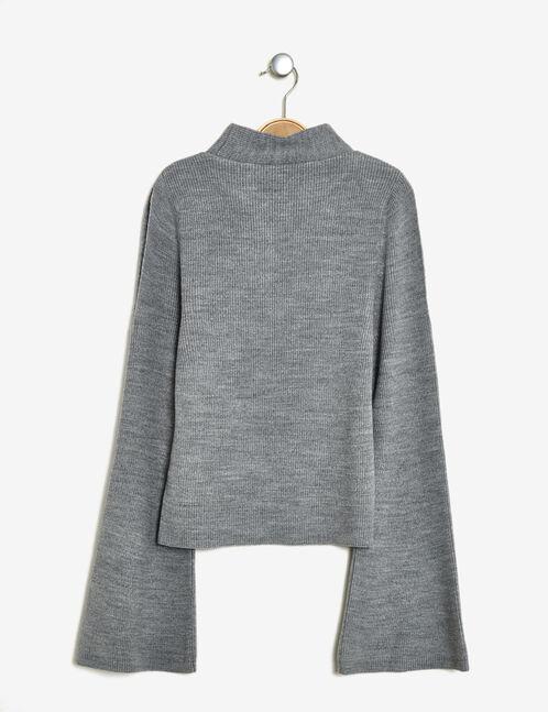 Grey marl jumper with pagoda sleeves
