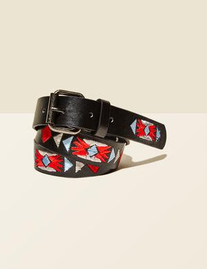 ceinture brodée noire, rouge, bleue et écrue