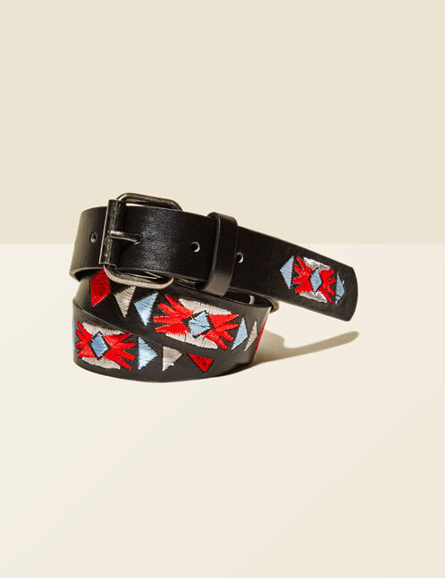 Black, red, blue and cream embroidered belt