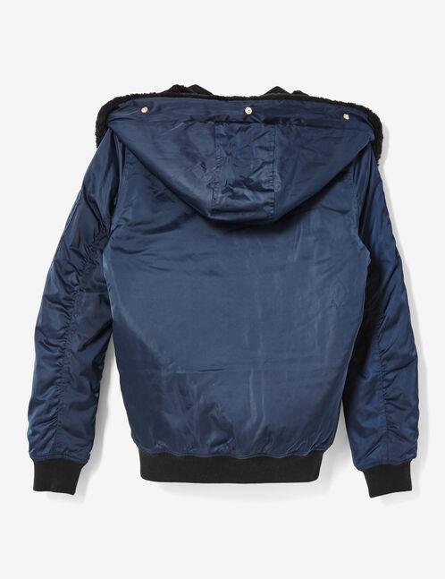 blouson bomber à capuche bleu marine