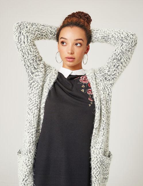Cream and black popcorn knit cardigan