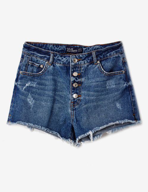 short en jean taille haute medium blue