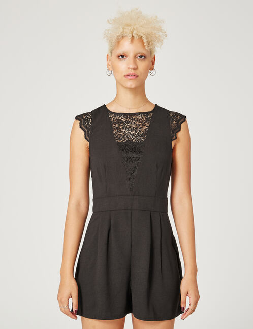 Black open-back playsuit