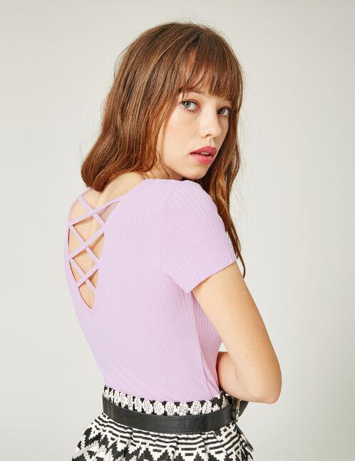 Violet deep-back top with strap detail