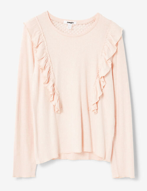 Light pink T-shirt with frill detail