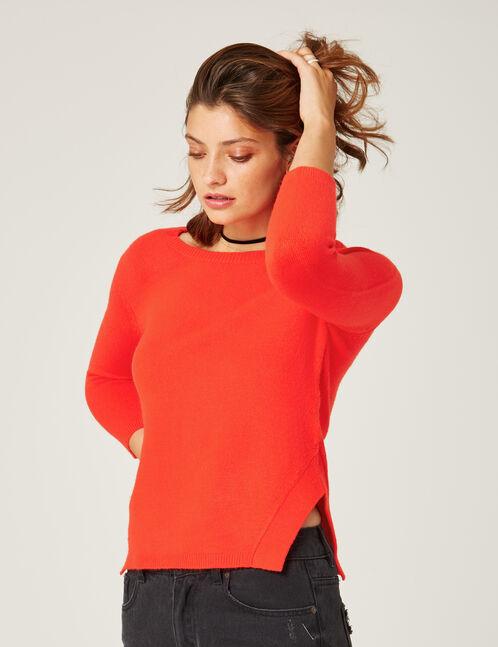 Red cashmere-feel jumper