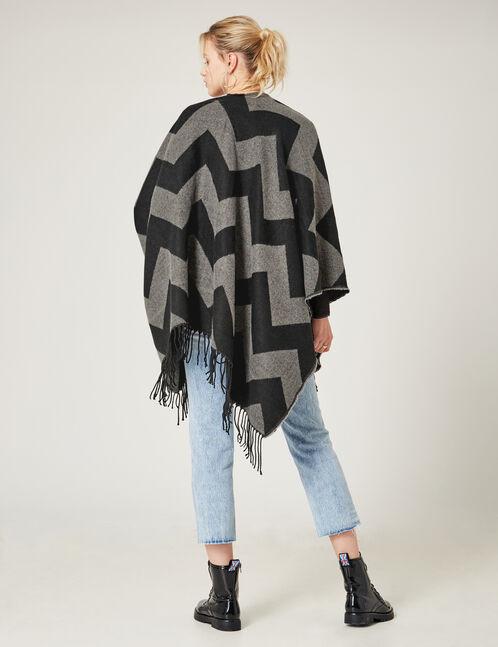 poncho motif zigzag noir et gris