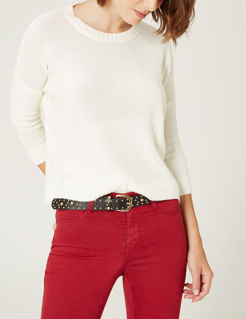 Cream jumper with 3/4-length sleeves