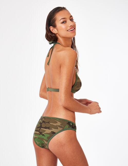 Khaki camouflage push-up bikini top