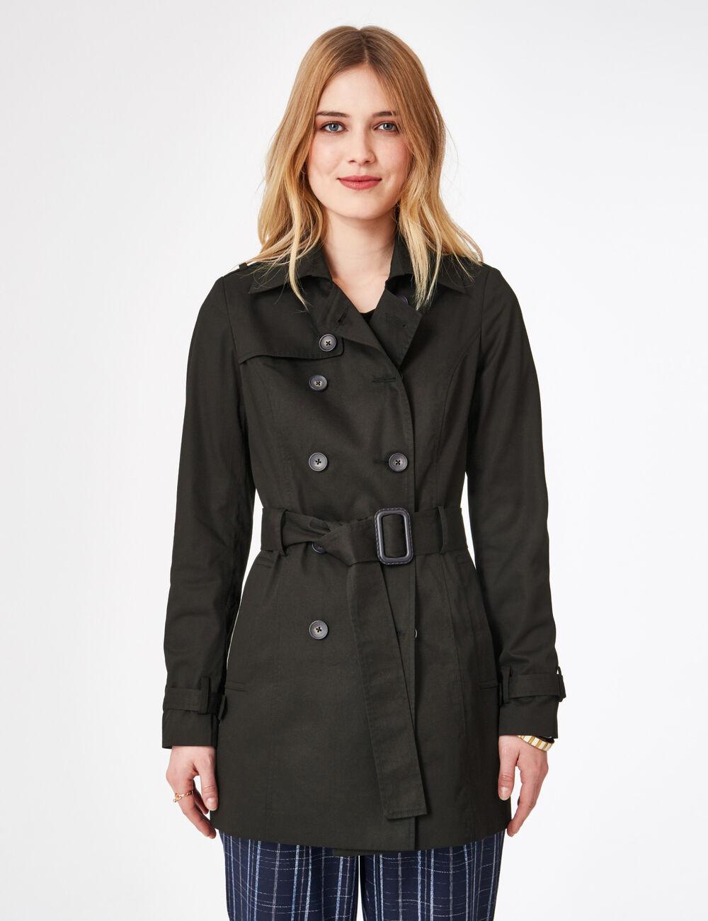 Veste trench noire femme jennyfer for Veste noir interieur ecossais