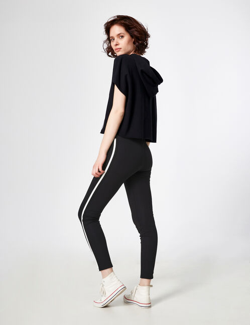 Black and white joggers with side stripe detail