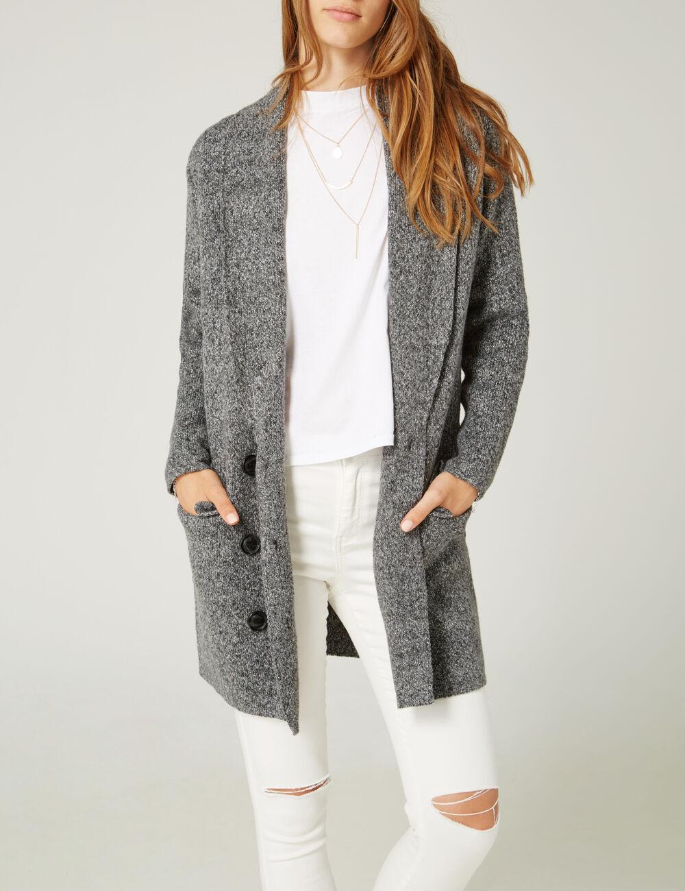 veste longue en maille gris anthracite chin femme jennyfer. Black Bedroom Furniture Sets. Home Design Ideas