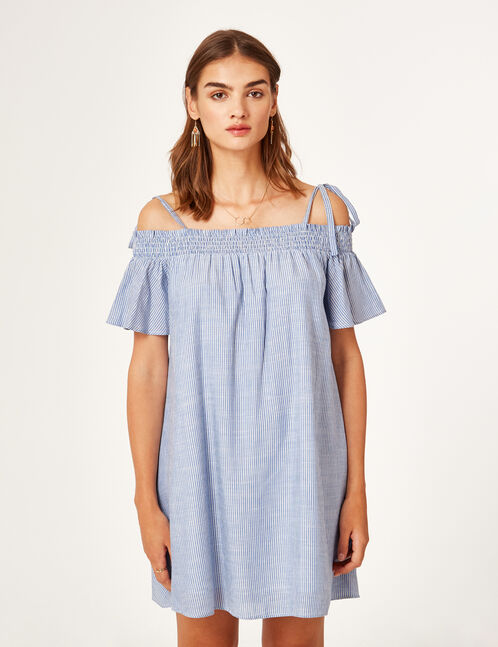 Blue and white off-the-shoulder dress