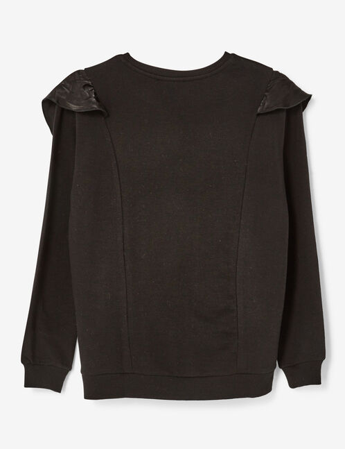 Black sweatshirt with frill detail
